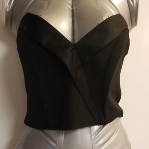 Miss Selfridge 4 black tuxedo crop top new